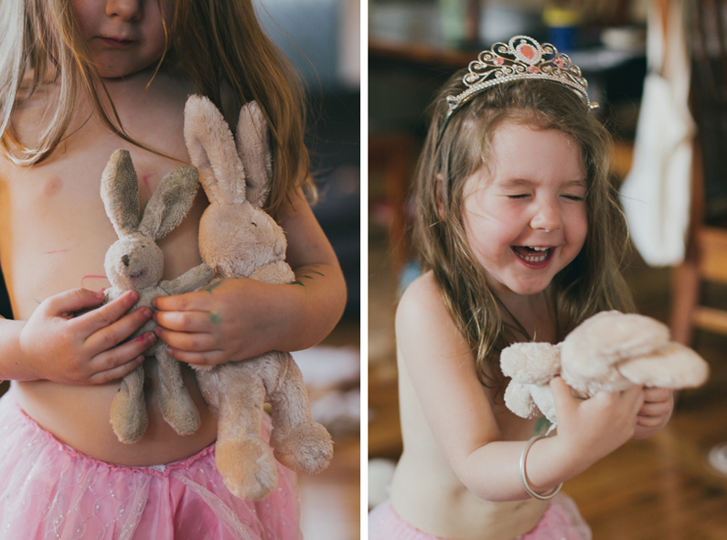 Girl with new bunny - so happy