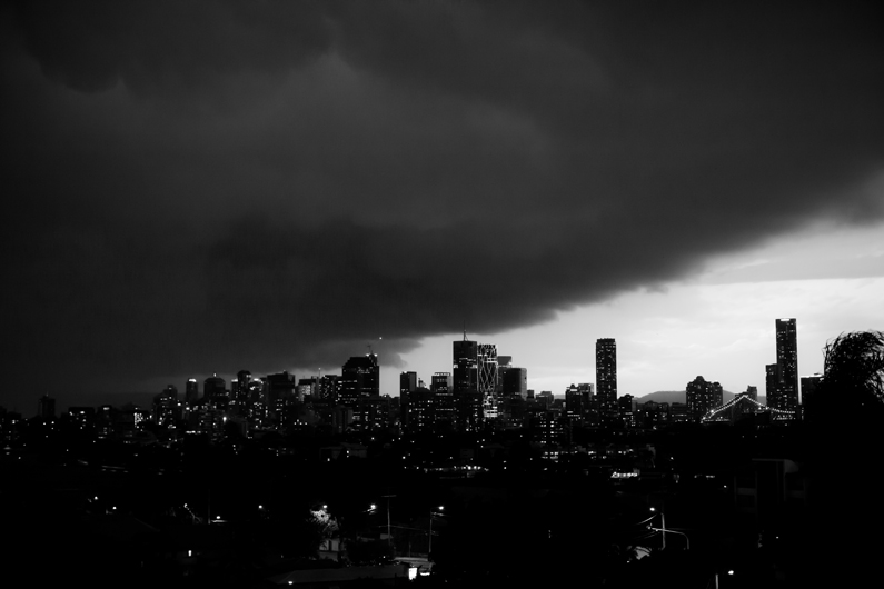Storm over Brisbane city